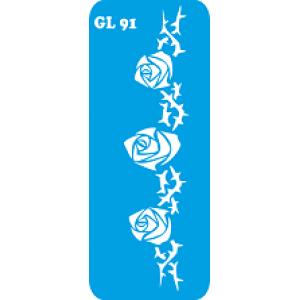 Трафарет для бодиарта  Три бутончика код GL 91