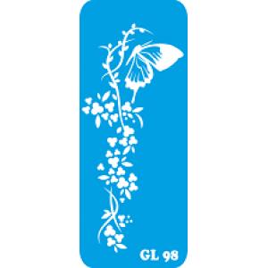 Трафарет для бодиарта  Бабочка на цветке код GL 98
