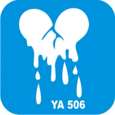 Трафарет для бодиарта Любовь Сердце тает код № YA 506