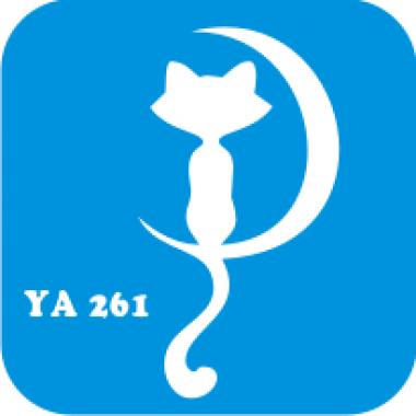 Трафарет для бодиарта Мир животных Кошечка Луна  код № YA 261