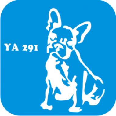 Трафарет для бодиарта Мир животных Французский бульдог  код № YA 291