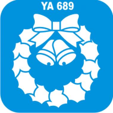 """Трафарет для бодиарта Новый Год """"Новогодний веночек""""код № YA 689"""