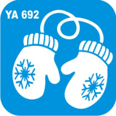 Трафарет для бодиарта Новый Год код Варежки № YA 692