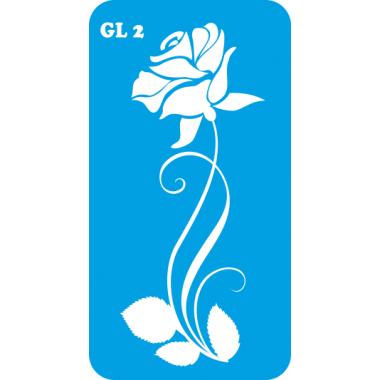 Трафарет для бодиарта Бутон Розы код GL 2