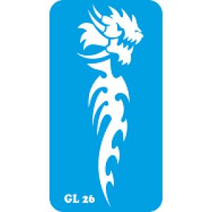 Трафарет для бодиарта Дракон  код GL 26