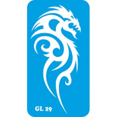 Трафарет для бодиарта Дракон код GL 29
