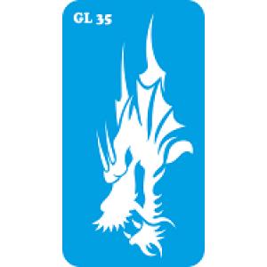 Трафарет для бодиарта Дракон код GL 35