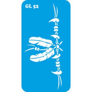 Трафарет для бодиарта Два пера код GL 52