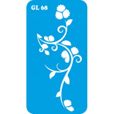 Трафарет для бодиарта Ветка -цветы код GL 68