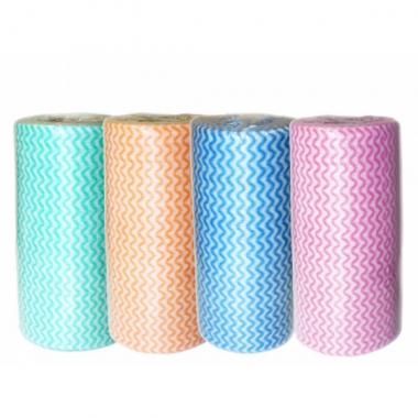 Салфетки одноразовые , сетка волна 30 х 50  в рулоне, 100 шт. Цвет: Зеленый, Оранжевый, Голубой, Розовый