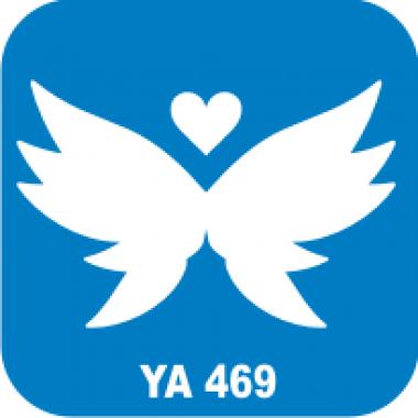 Трафарет для бодиарта Любовь Сердце-бабочка код № YA 469