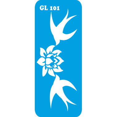 Трафарет для бодиарта Две ласточки с цветком код GL 101